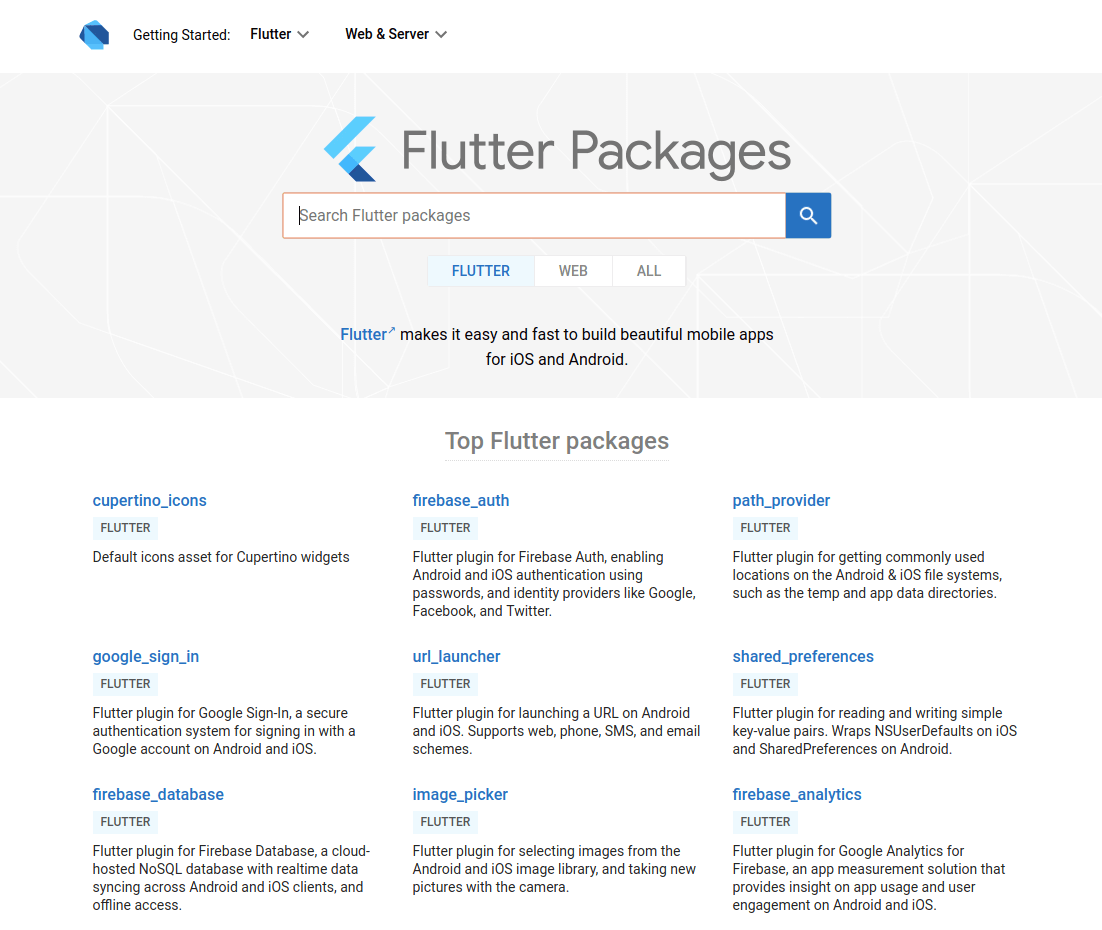 Flutter Packages Banner